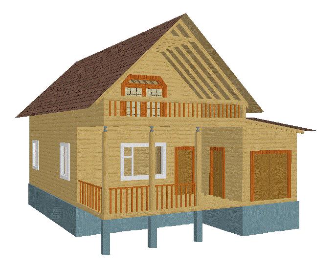 Деревянный дом 6х12 1,5 эт с гаражом.